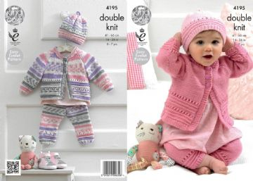 King Cole 4195 Knitting Pattern Coat, Hat and Leggings in King Cole Cherish and Cherished DK